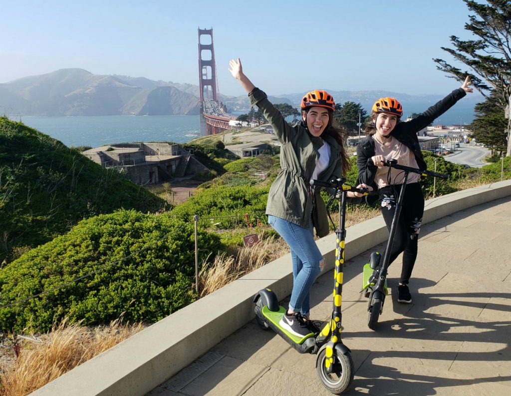 Electric Scooters group tour at the Golden Gate Bridge